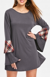 Bell Sleeves Women Mini T-shirt Dress