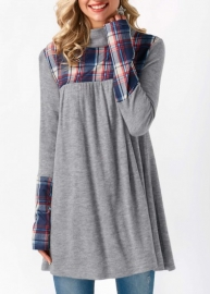 Plaid Splice Long Sleeve Plus Size Tunic Top Gray