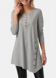 Long Sleeve Tops with  Button  Shirt  Gray