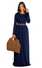 Royal Blue Long Sleeve O-Neck Casual Maxi Dress( Not including the  waistband)