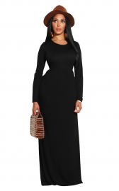 Black Long Sleeve O-Neck Casual Maxi Dress