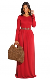 Red Long Sleeve O-Neck Casual Maxi Dress(Not including the waistband)