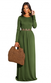 Army Green Long Sleeve O-Neck Casual Maxi Dress( No include the waistband)
