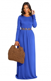 Blue Long Sleeve O-Neck Casual Maxi Dress( No include the waistband)