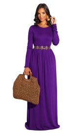 Purple Long Sleeve O-Neck Casual Maxi Dress( Not including the waistband)