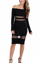 Women Mesh Patchwork Long Sleeve Black Bodycon Dress