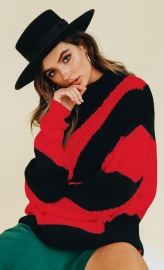 Red Black Stripe Pullover Sweater