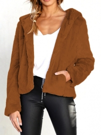 Long Sleeve Plush Hoody Coat Brown