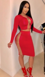 Red Patchwork 2 Pcs Bodycon Dress