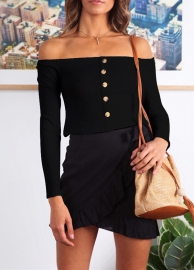 Long Sleeve Off Shoulder Tops With Button Black