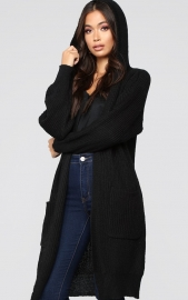 Black Long Cardigan Sweater With Pocket