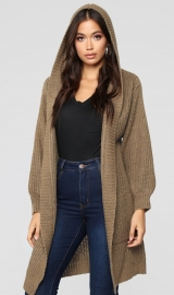 Brown Long Cardigan Sweater With Pocket