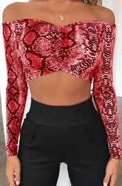 Long Sleeve Snake Print Crop Tops Red