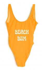Fashion One Pcs Letter Printed Swimwear BEACH BUM