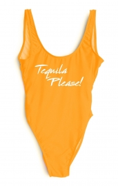 Fashion One Pcs Letter Printed Swimwear TEQUILA PLEASE!