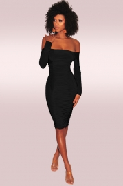 Black Off-Shoulder Long Sleeves Bodycon Dress