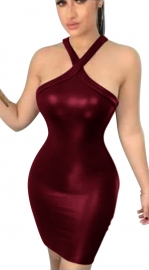Best  Sellers  Halter Neck Bright Leather Bodycon Dresses  Wine Red