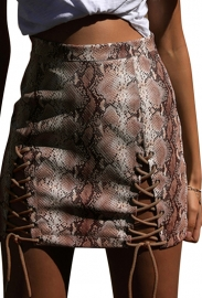 New Arrival Snake Print Pu Leather Bandage Mini Hip Skirt Brown