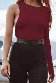 Wine Red O-Neck One Sleeve High Cut Bodysuit