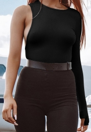 Black O-Neck One Sleeve High Cut Bodysuit