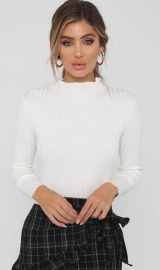 White Mock Neck Ruffled Sweater