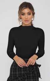 Black Mock Neck Ruffled Sweater