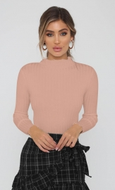 Women Pink Mock Neck Ruffled Sweater