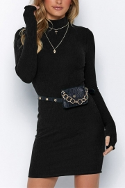 New Arrivals Half-high Collar Long-sleeve Gloves Midi Dress Black