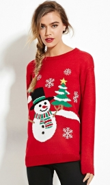 Red Christmas Pullover Snowman Sweater