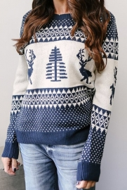 Women Blue Christmas Tree O-Neck Sweater