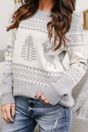 Women Grey Christmas Tree O-Neck Sweater