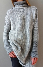 Grey Turtleneck Long Sleeve Knitted Long Sweater