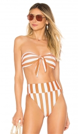 Stripe Printing Off Shoulder Tied Front Bikini