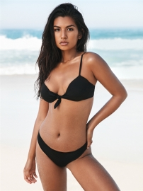 Solid Knot Front  Swimwears Black