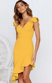 Yellow Ruffled Sleeve High Low Mermaid Dress
