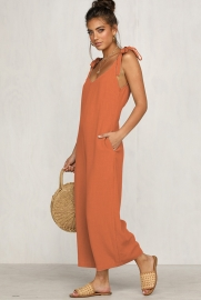 Backless bandage dress wide leg jumpsuits orange