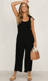 Hot Items V-neck Wide leg Jumpsuits Black