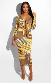 Hot items Women Sexy Colorful Strip Print Bandage  Dress
