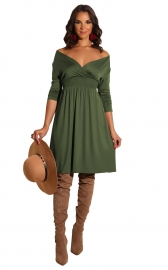 New arrivals Fashion Long Sleeve Solid Deep V-neck Dress Army Green