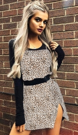 Khaki Leopard Print Spaghetti Strap Mini Slit Dress