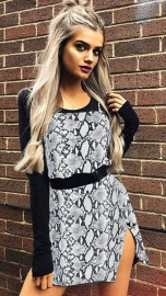 Grey Leopard Print Spaghetti Strap Mini Slit Dress