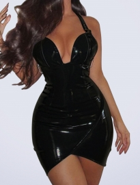 Deep V neck Halter  PU Bright  Leather Bodycon  Dress Black