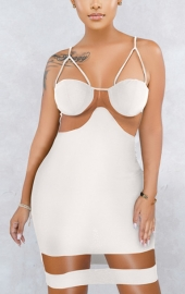 Hot sale sexy mesh stitching Sling  dress bodycon dress White