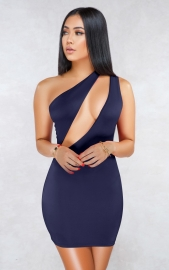 Royal Blue Sexy One Shoulder Hollow-out Bodycon Dress