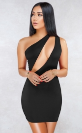 Black Sexy One Shoulder Hollow-out Bodycon Dress