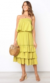 Yellow Sleeveless 2pcs Sweetheart Layered Dress
