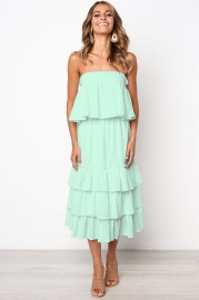Light Green Sleeveless 2pcs Sweetheart Layered Dress