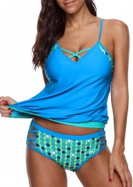 Two Piece Strappy cross  Neck   Swimsuit