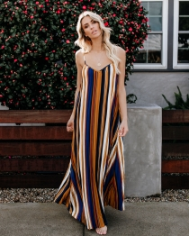 Casual Orange Blue Striped Camisole  Dress for Women