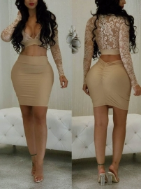 Bodycon Dress Two piece Lace Bandage khaki Mini Dress